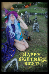 Size: 3456x5184 | Tagged: safe, artist:krazykari, trixie, human, clothes, cosplay, costume, gravestone, halloween, halloween costume, holiday, irl, irl human, magic wand, nightmare night, photo, solo