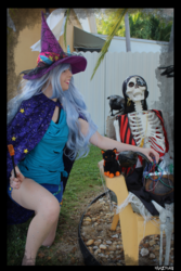 Size: 3456x5184 | Tagged: safe, artist:krazykari, trixie, human, bone, clothes, cosplay, costume, halloween, halloween costume, hat, holiday, irl, irl human, nightmare night, photo, skeleton, solo, witch hat