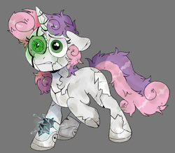 Size: 1113x977   Tagged: safe, artist:incubugs, artist:mega-bugsly, sweetie belle, pony, robot, robot pony, unicorn, broken, damaged, destabilize, dirty, female, filly, foal, gray background, green eyes, in need of repair, robot gore, sad, scared, simple background, solo, sweetie bot