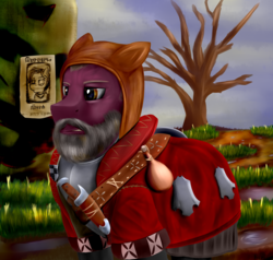 Size: 2100x2000 | Tagged: safe, artist:richmay, pony, armor, beard, clothes, crossover, facial hair, phillip strenger, ponified, the bloody baron, the witcher, the witcher 3