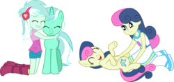 Size: 1920x914 | Tagged: safe, artist:limedazzle, bon bon, lyra heartstrings, sweetie drops, earth pony, pony, unicorn, equestria girls, adorabon, amused, bellyrubs, bon bon is amused, cute, eyes closed, female, hug, human ponidox, lyrabetes, mare, self ponidox, show accurate, simple background, transparent background, vector