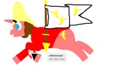 Size: 800x500 | Tagged: safe, artist:colonialpone, oc, oc:banana pie, unicorn, banana, colonialism, flag, food, hat, military uniform, pith helmet, running, smiling, tumblr