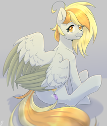 Size: 1524x1796 | Tagged: safe, artist:tigra0118, oc, oc only, pegasus, pony, female, looking at you, my little pony, not derpy, sitting, solo