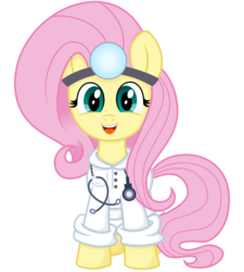 Size: 900x1000 | Tagged: artist needed, source needed, safe, fluttershy, pony, clothes, cute, doctor, head mirror, lab coat, shyabetes, simple background, smiling, solo, stethoscope, transparent background