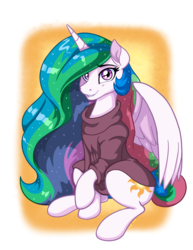 Size: 2550x3300 | Tagged: alicorn, artist:latecustomer, clothes, cute, cutelestia, female, lip bite, looking at you, mare, pony, princess celestia, raised hoof, safe, sitting, solo, sweater