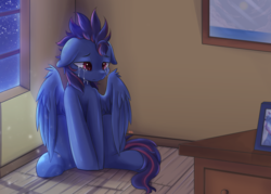 Size: 1050x750 | Tagged: artist:tikrs007, crying, male, moonlight, oc, oc:lost, oc only, pegasus, pony, room, sad, safe, sitting, solo, stallion