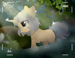 Size: 3998x3137 | Tagged: artist:reterica, butterfly, camera, camera shot, green eyes, nature, oc, oc:trickate, pony, river, safe, solo, unicorn, water