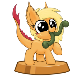 Size: 7087x7087 | Tagged: safe, artist:stewart501st, applejack, monster pony, original species, tatzlpony, miss pie's monsters, absurd resolution, cute, ear fluff, jackabetes, looking at you, multiple tongues, no iris, open mouth, part of a set, pocket ponies, pocket pony, raised hoof, simple background, smiling, solo, species swap, tatzljack, tongue out, transparent background