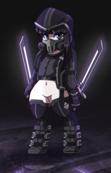 Size: 2498x3870 | Tagged: artist:ciderpunk, clothes, cyberpunk, gas mask, hood, mask, oc, oc:blackdahlia, oc only, oc:spectra, safe, solo, standing, sword, weapon