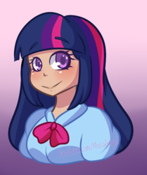 Size: 543x651 | Tagged: safe, artist:mocaangel, twilight sparkle, human, equestria girls, bust, colored pupils, cute, eye sparkles, female, gradient background, humanized, solo, twiabetes, wingding eyes