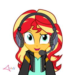 Size: 3748x4101 | Tagged: safe, artist:asrafpie, sunset shimmer, human, equestria girls, equestria girls series, game stream, spoiler:eqg series (season 2), cute, female, gamer sunset, headset, open mouth, shimmerbetes, simple background, solo, sunset gamer, transparent background, vector
