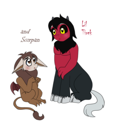 Size: 4246x4423 | Tagged: safe, artist:chibi-n92, lord tirek, scorpan, blushing, brothers, cute, diascorpes, duo, floppy ears, male, simple background, tirebetes, transparent background, younger