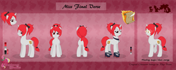 Size: 6894x2744 | Tagged: safe, artist:raspberrystudios, oc, oc only, oc:miss final verse, pony, unicorn, bow, commission, cutie mark, height difference, high heels, reference sheet, shoes, smiling, smirk
