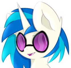 Size: 1429x1376 | Tagged: artist:pointdelta, bust, cute, dj pon-3, ear fluff, open mouth, pony, portrait, safe, solo, unicorn, vinylbetes, vinyl scratch