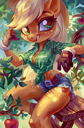 Size: 2342x3581   Tagged: safe, artist:holivi, applejack, earth pony, anthro, apple, apple tree, belly button, body freckles, boots, breasts, busty applejack, cleavage, clothes, cowboy boots, cowboy hat, cowgirl, daisy dukes, female, food, freckles, front knot midriff, fruit, gloves, hat, looking at you, mare, midriff, plaid, sexy, shoes, shorts, smiling, solo, stupid sexy applejack, tree