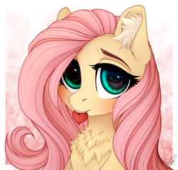 Size: 1980x1890 | Tagged: safe, artist:vird-gi, fluttershy, pegasus, pony, abstract background, blushing, bust, chest fluff, cute, ear fluff, female, fluffershy, heart, looking at you, mare, mouth hold, portrait, shyabetes, signature, solo, three quarter view
