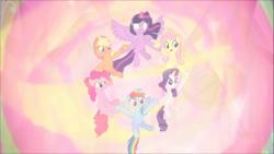 Size: 1747x983 | Tagged: safe, screencap, applejack, fluttershy, pinkie pie, rainbow dash, rarity, twilight sparkle, alicorn, earth pony, pegasus, pony, unicorn, the beginning of the end, cropped, ethereal mane, female, floating, glowing eyes, glowing horn, holding hooves, light, magic, magic of friendship, mane six, mare, smiling, spread wings, twilight sparkle (alicorn), wings