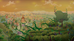 Size: 2100x1178   Tagged: safe, screencap, the beginning of the end, apple tree, everfree forest, fluttershy's cottage, forest, no pony, orange sky, ponyville, ponyville schoolhouse, ponyville town hall, thorns, tree, vegetation, vine