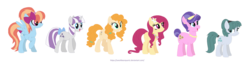 Size: 1280x322 | Tagged: safe, artist:sarahbearquartz, cloudy quartz, cookie crumbles, pear butter, posey shy, twilight velvet, windy whistles, pony, base used, bow, flower, flower in hair, missing accessory, mom six, no glasses, simple background, tail bow, white background, younger