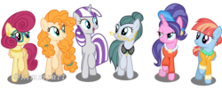 Size: 3784x1544 | Tagged: safe, artist:kimmyartmlp, cloudy quartz, cookie crumbles, pear butter, posey shy, twilight velvet, windy whistles, pony, mom six