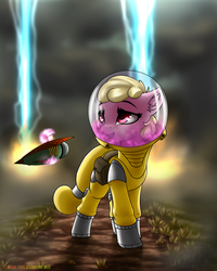 Size: 1600x2000 | Tagged: safe, artist:shido-tara, oc, oc only, oc:puppysmiles, earth pony, pony, fallout equestria, fallout equestria: pink eyes, canterlot ghoul, cloud, cloudy, ear fluff, environmental suit, explosion, fanfic, fanfic art, female, filly, foal, hazmat suit, hooves, levitation, magic, pink cloud (fo:e), saddle bag, solo, telekinesis, wasteland, weapon