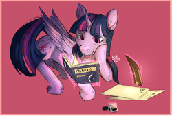 Size: 5902x4000 | Tagged: safe, artist:magentell, twilight sparkle, alicorn, pony, absurd resolution, book, bookhorse, experimental style, female, inkwell, levitation, magic, paper, pink background, quill, simple background, solo, telekinesis, twilight sparkle (alicorn)