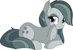 Size: 7997x5424   Tagged: safe, artist:cyanlightning, marble pie, earth pony, pony, .svg available, absurd resolution, chest fluff, cute, ear fluff, ear tufts, eyeshadow, female, leaning, lidded eyes, looking at you, makeup, marblebetes, mare, prone, simple background, sitting, smiling, solo, transparent background, vector