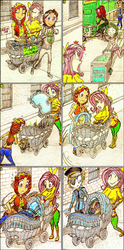 Size: 1152x2323 | Tagged: safe, artist:meiyeezhu, fluttershy, tree hugger, oc, oc:dank nugs, oc:maya heartstrings, oc:techy texas, human, baby carriage, basket, big breasts, blushing, bow, bowtie, breasts, carriage, cart, clothes, comic, confused, disguise, drugs, eyepatch, fleeing, hair bow, horned humanization, huge breasts, humanized, jar, jeans, jewelry, marijuana, midriff, necklace, necktie, nervous, old master q, pacifier, pants, parody, pillow, police, police officer, stoney pony, street, sweater, sweatershy, uh oh, vendor, wind up key