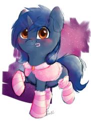Size: 1000x1370 | Tagged: safe, artist:kotgl, oc, oc only, oc:starlight blossom, pony, unicorn, clothes, cute, female, filly, sketch, socks, solo, striped socks, sugar cane