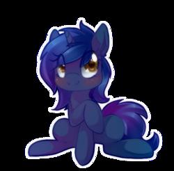 Size: 462x454 | Tagged: safe, artist:loyaldis, oc, oc only, oc:starlight blossom, pony, unicorn, blushing, cute, female, filly, simple background, sitting, transparent background