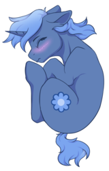Size: 1258x1960   Tagged: safe, alternate version, artist:cleoziep, oc, oc only, oc:paamayim nekudotayim, pony, unicorn, blushing, eyes closed, fetal position, floppy ears, simple background, sleeping, solo, top down, transparent background