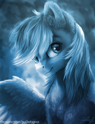 Size: 3529x4600 | Tagged: safe, artist:gaelledragons, rainbow dash, pegasus, pony, abstract background, bust, cheek fluff, chest fluff, cute, dashabetes, detailed, ear fluff, eye reflection, female, fluffy, looking at you, mare, monochrome, neck fluff, portrait, reflection, shoulder fluff, smiling, solo, wing fluff