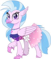 Size: 1309x1500   Tagged: safe, artist:cloudyglow, silverstream, hippogriff, spoiler:s09, clothes, cute, diastreamies, dress, female, formal dress, jewelry, movie accurate, necklace, purple eyes, solo