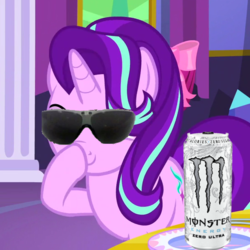 Size: 600x600 | Tagged: boomer, boop, edit, edited screencap, glimmerposting, meme, monster energy, no second prances, pony, raised eyebrow, safe, screencap, self-boop, smiling, smirk, solo, sunglasses, unicorn
