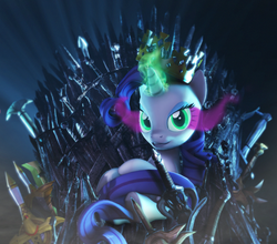 Size: 2460x2160 | Tagged: 3d, artist:sindroom, caliburn, crossover, crown, dark magic, game of thrones, green eyes, horn, iron throne, jewelry, magic, pony, purple hair, purple mane, purple tail, rarity, regalia, safe, solo, sombra eyes, sonic and the black knight, sonic the hedgehog (series), source filmmaker, sword, tail, unicorn, weapon