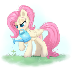 Size: 1770x1717 | Tagged: safe, artist:confetticakez, fluttershy, pegasus, pony, alternate hairstyle, blushing, cute, female, flower, folded wings, gardening, lidded eyes, looking down, mare, mouth hold, outdoors, plant, ponytail, raised hoof, shyabetes, simple background, solo, spring, stray strand, watering, watering can, wings