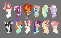 Size: 1280x811 | Tagged: artist:petalierre, background pony, bust, cute, female, friendship student, glasses, helia, honey lemon, jasmine leaf, las pegasus resident, lavender essence, lidded eyes, mare, moondancer's sister, morning roast, open mouth, peppermint goldylinks, pony, portrait, profile, rainbow stars, raspberry beret, raspberry vinaigrette, safe, sprout greenhoof, stellar flare, windy whistles