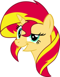 Size: 2000x2571 | Tagged: safe, artist:midnight-st4r, sunset shimmer, pony, unicorn, always works, bust, dreamworks face, female, grin, mare, meme, raised eyebrow, simple background, smiling, smirk, solo, transparent background, trollface, vector