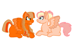 Size: 1024x768 | Tagged: safe, artist:glamgoria-morose, oc, oc only, oc:bumper car, oc:humming bee, pegasus, pony, magical lesbian spawn, offspring, parent:scootaloo, parent:zippoorwhill, siblings, twins