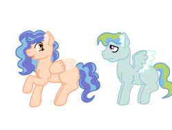 Size: 1032x774 | Tagged: artist:glamgoria-morose, oc, oc:bubbles, oc only, oc:summer beauty, offspring, parent:applejack, parent:cheese sandwich, parent:rainbow dash, parents:cheesedash, parent:soarin', parents:soarinjack, pegasus, pony, safe