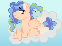Size: 1024x768 | Tagged: artist:glamgoria-morose, cloud, oc, oc:bubbles, oc only, oc:summer beauty, offspring, parent:applejack, parent:cheese sandwich, parent:rainbow dash, parents:cheesedash, parent:soarin', parents:soarinjack, pegasus, pony, safe