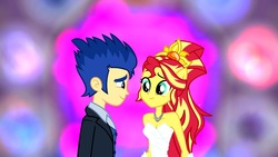 Size: 1280x720 | Tagged: artist needed, safe, flash sentry, sunset shimmer, equestria girls, clothes, dress, female, flashimmer, male, marriage, shipping, straight, wedding, wedding dress