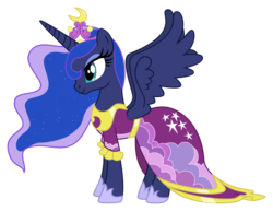 Size: 1122x868 | Tagged: alicorn, artist:midnight-st4r, beautiful, clothes, coronation dress, crown, dress, female, hoof shoes, jewelry, lidded eyes, magical mystery cure, mare, pony, princess luna, regalia, safe, simple background, smiling, solo, transparent background, vector, wings