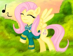 Size: 1626x1238 | Tagged: artist:x-blackpearl-x, clothes, cute, eyes closed, female, filli vanilli, fluttershy, mare, music notes, pegasus, pony, raised leg, safe, shyabetes, singing, spread wings, wings