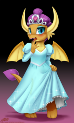 Size: 1100x1832 | Tagged: safe, artist:johnjoseco, smolder, dragon, blushing, clothes, cute, dragoness, dress, embarrassed, fangs, female, horns, jewelry, lipstick, open mouth, princess smolder, smolder also dresses in style, smolderbetes, solo, spread wings, wings