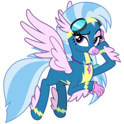 Size: 3000x3000 | Tagged: safe, artist:cheezedoodle96, silverstream, classical hippogriff, hippogriff, uprooted, spoiler:s09e03, .svg available, adorasexy, alternate hairstyle, clothes, cute, diastreamies, dream sequence, feathered fetlocks, female, flying, goggles, hippogriff wonderbolt, jewelry, lidded eyes, looking at you, necklace, non-pegasus wonderbolt, raised eyebrow, scene interpretation, sexy, simple background, smiling, smirk, solo, spread wings, svg, transparent background, uniform, vector, wings, wonderbolt silverstream, wonderbolts uniform