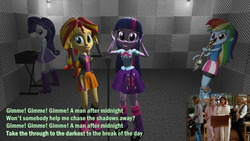 Size: 1001x564 | Tagged: 3d, abba, artist:didgereethebrony, electric guitar, electric piano, equestria girls, gmod, grammar error, guitar, keyboard, looking at you, lyrics, microphone, rainbow dash, rarity, recording, safe, singing, solo, sunset shimmer, text, twilight sparkle