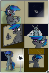 Size: 744x1116 | Tagged: artist:pencil bolt, comic, comic:do not fear, earth pony, flashlight (object), lamp, male, moth, night, oc, oc:billy blue, original species, pony, room, safe, wake up, window