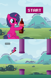 Size: 530x804 | Tagged: artist:red-watercolor, coca-cola, coke bottle, downloadable, female, flappy bird, game, mare, oc, oc:fizzy pop, pony, safe, solo, unicorn