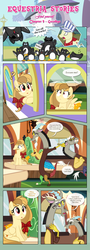 Size: 1919x5356   Tagged: safe, artist:estories, discord, full steam, promontory, oc, oc:alice goldenfeather, oc:comet, draconequus, pegasus, phoenix, pony, comic:find yourself, background pony, comic, discord being discord, female, glasses, male, mare, penguin cat, self paradox, stallion, train
